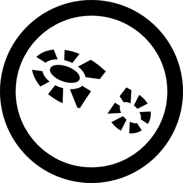 shoe footprint in a circle outline icons free download
