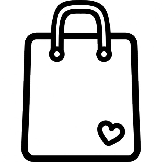 Shopping bag outline tool with a small heart Icons | Free Download
