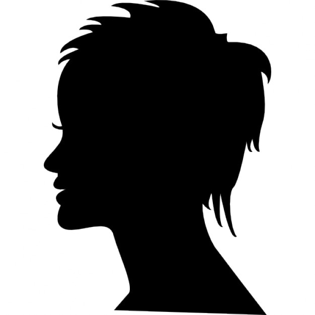 short female hair on side view woman head silhouette free icon
