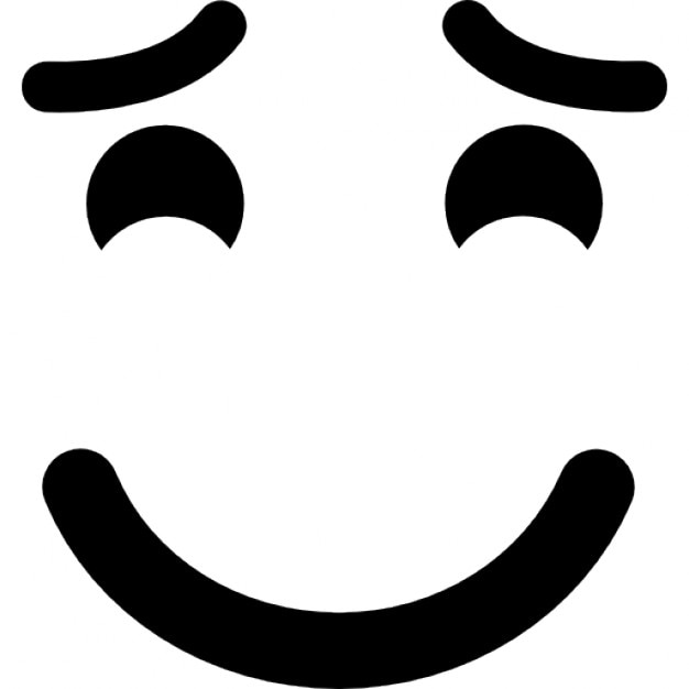 Smiling Emoticon With Raised Eyebrows And Closed Eyes Icons Free