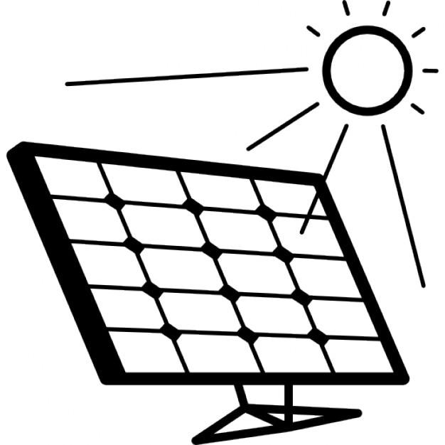 solar panel in sunlight icons