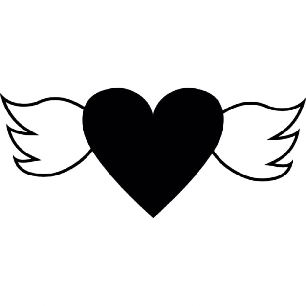 Solid Heart Shape With Wings Icons Free Download