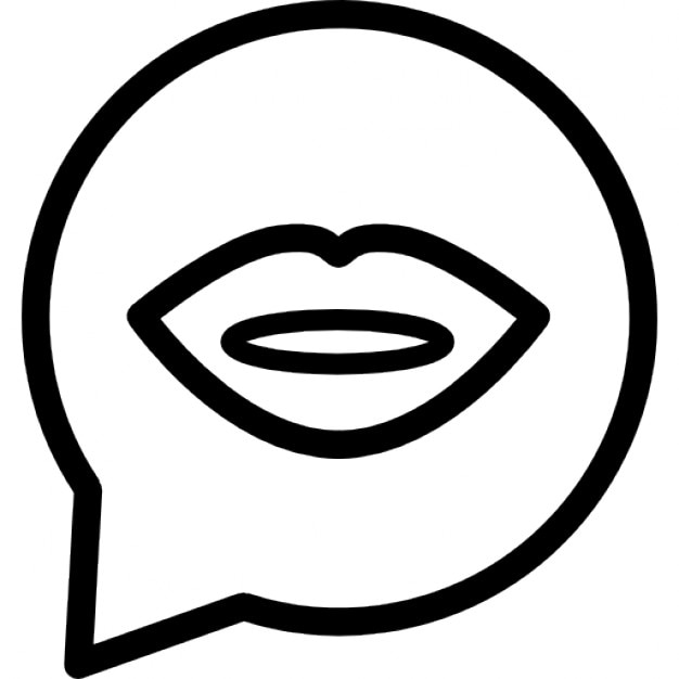 speech bubble of circular shape with female lips mouth outline
