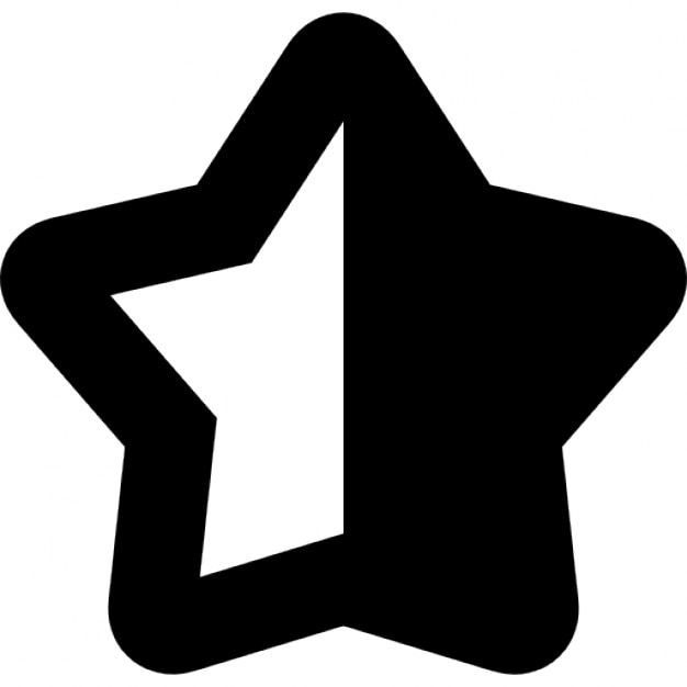 Star Shape Symbol With Half Black And Half White Icons Free Download