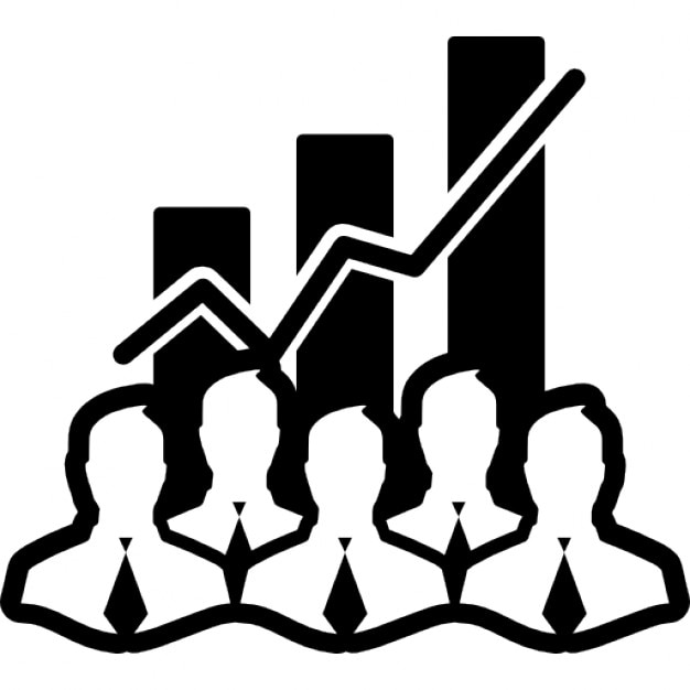 Stock data analytics interface symbol with businessmen and bars garphic background Free Icon