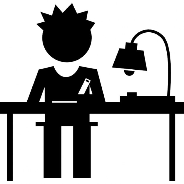 Book Icon Vector Male Student Or Teacher Person Profile: Student Writing On His Desk Icons