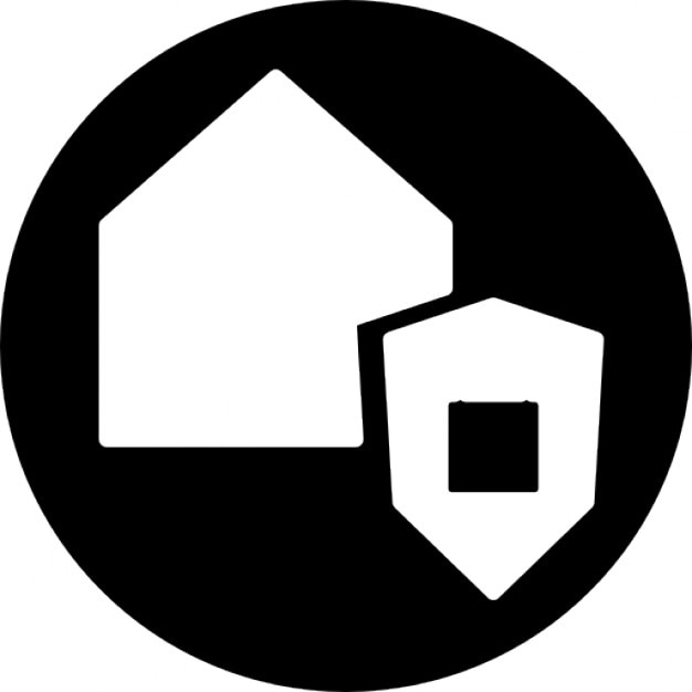 Security Hut Symbol: Surveillance For A House Symbol In A Circle Icons