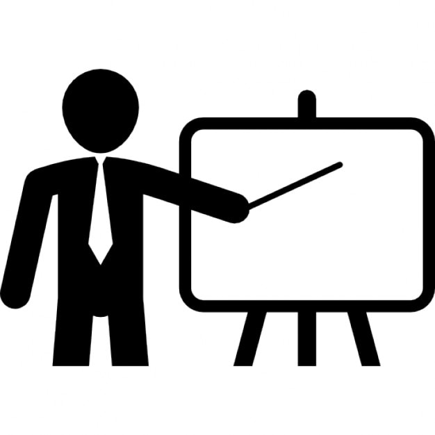 Teacher pointing a board with a stick Icons | Free Download