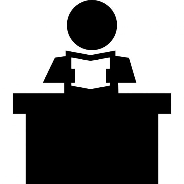 Book Icon Vector Male Student Or Teacher Person Profile: Teacher Reading A Book Sitting Behind His Desk Icons