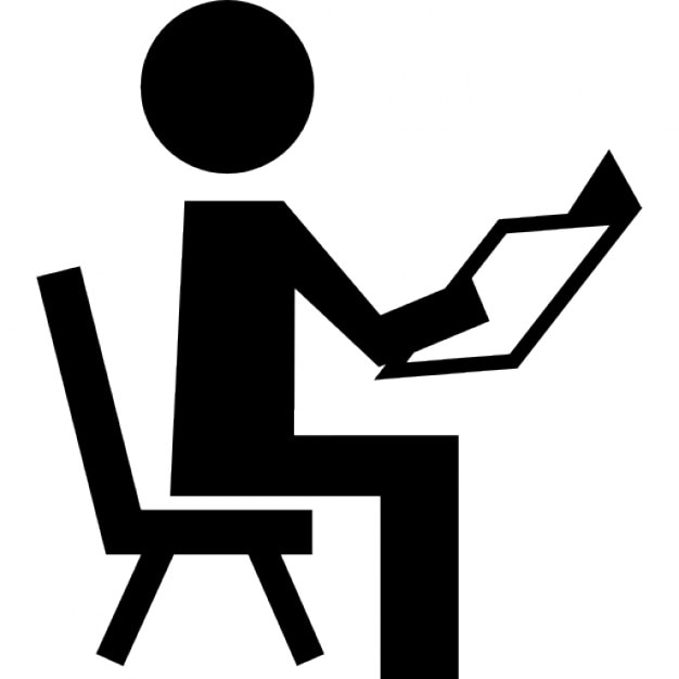 Book Icon Vector Male Student Or Teacher Person Profile: Teacher Reading Sitting On A Chair Icons