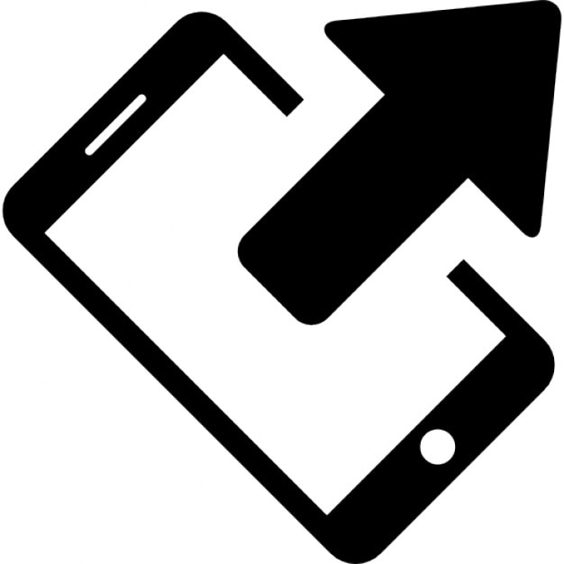 Telephone Rotated To Left With An Arrow Symbol Of Sending Data State