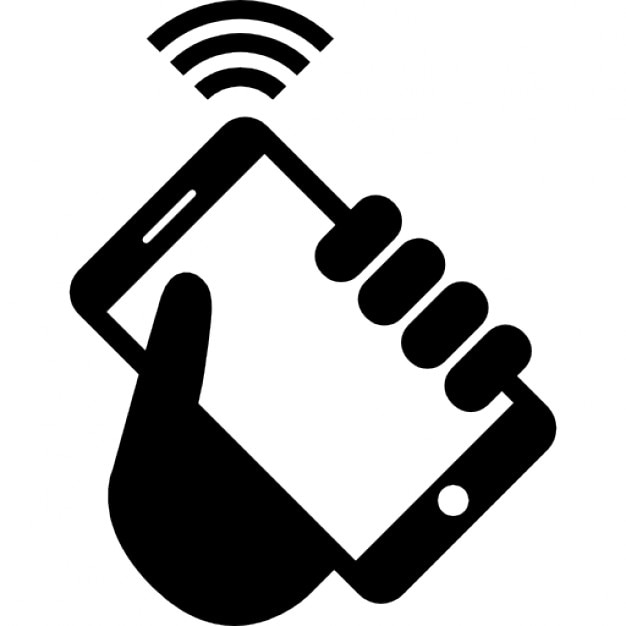 Telephone with wifi in a hand Free Icon