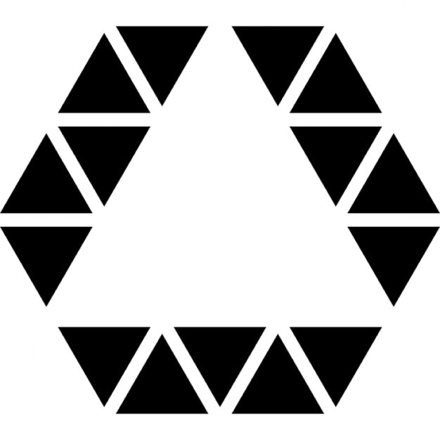 Triangle inside hexagon shape outline of small triangles line ...