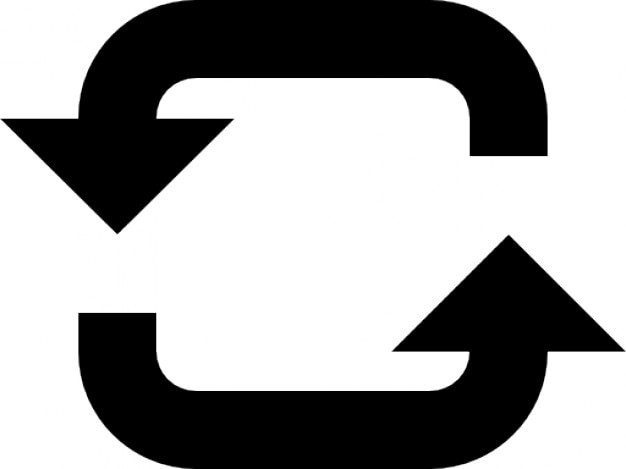Two arrows with a circle Free Icon