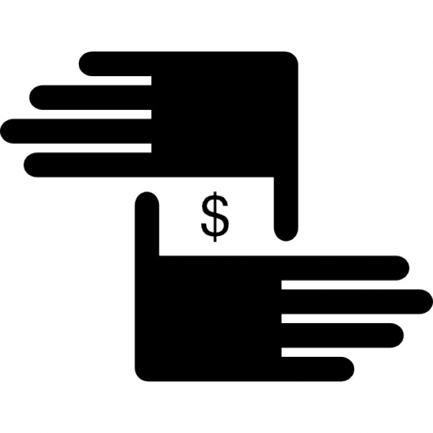 Two Hands With Dollar Sign At The Middle Icons Free Download