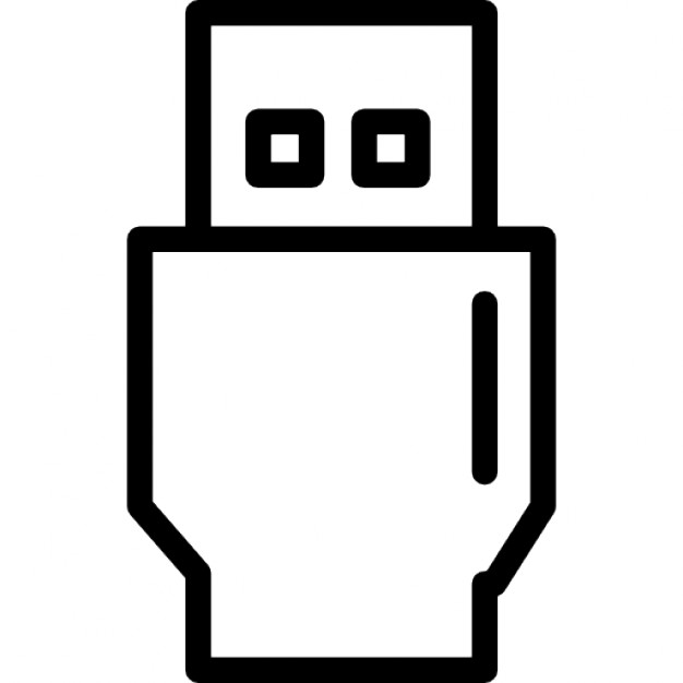 usb connector thin outline symbol in a circle icons free