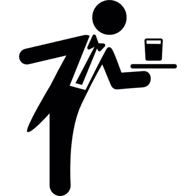 Waiter Serving A Drink On Tray Icons Free Download