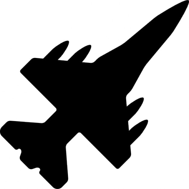 War airplane bottom view black shape Free Icon