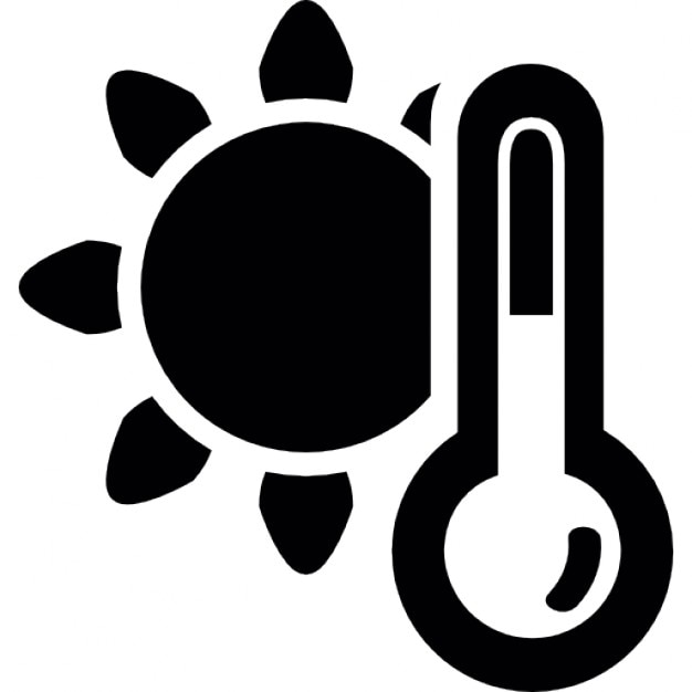 Weather Symbol Of A Sun And A Thermometer Or Barometer Icons Free