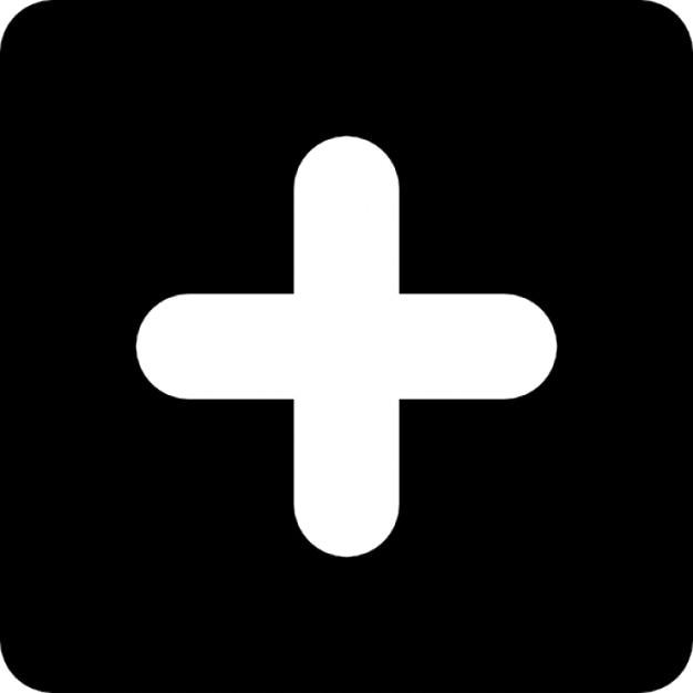 White plus inside a black square symbol Icons | Free Download