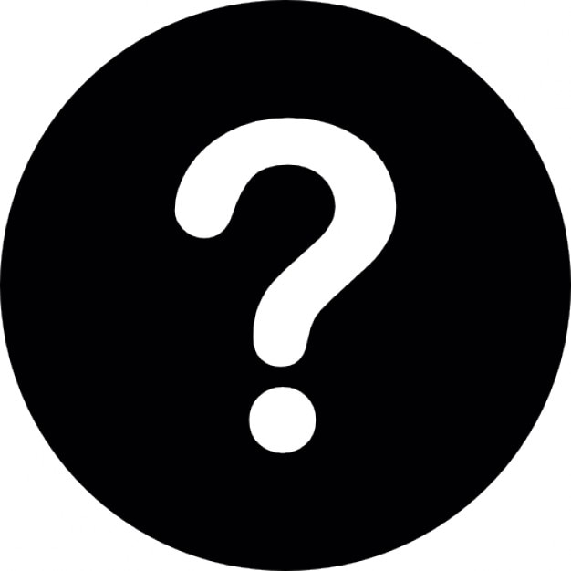 White question mark on a black circular background Free Icon