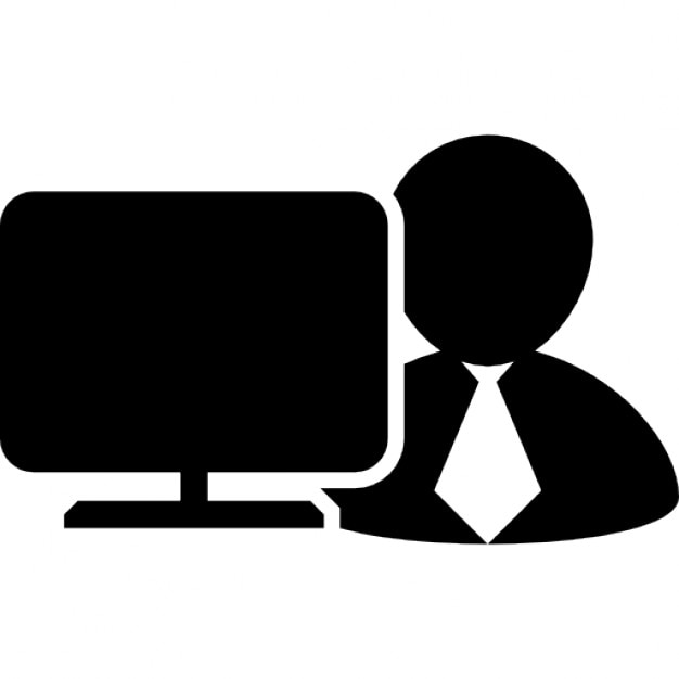 Worker In Front Of A Computer Monitor Icons Free Download