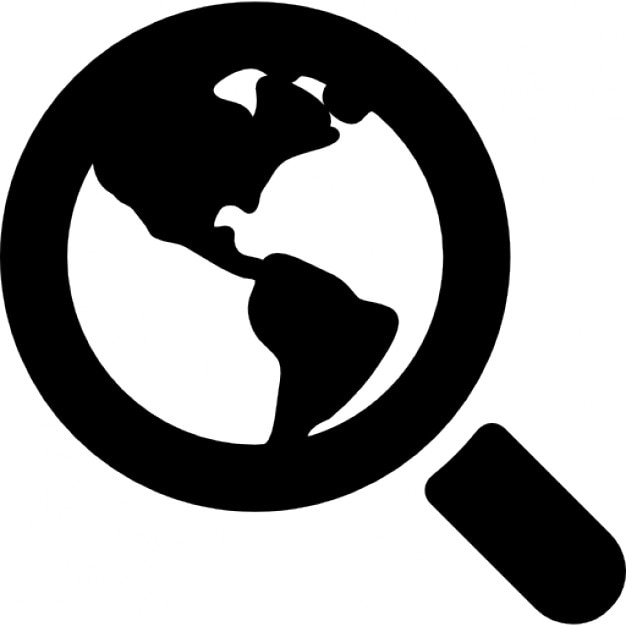 World Search Interface Symbol Of Earth Under A Magnifier Tool Icons