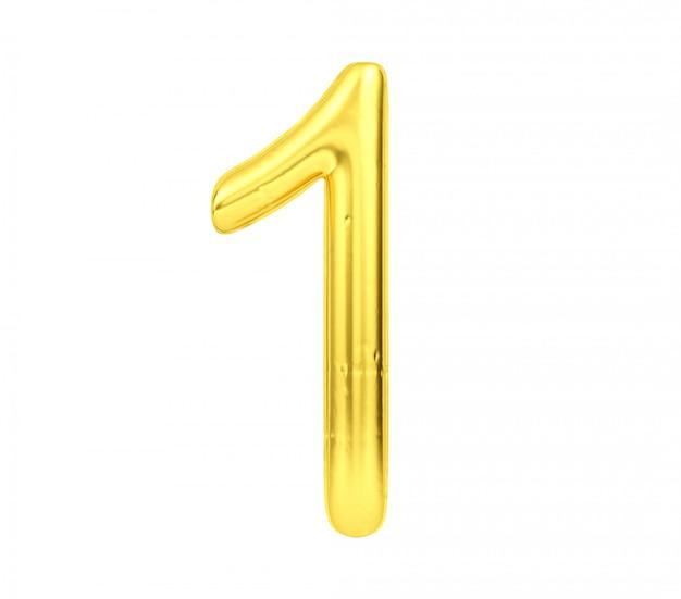 Цифра 1, золотой шар номер один на белом фоне, 3d-рендеринг Premium Фотографии