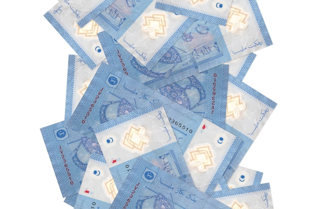 1 malaysian ringgit bills flying down isolated on white Premium Photo