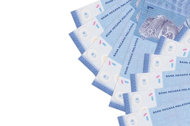 1 malaysian ringgit bills lies isolated on white background with copy space Premium Photo