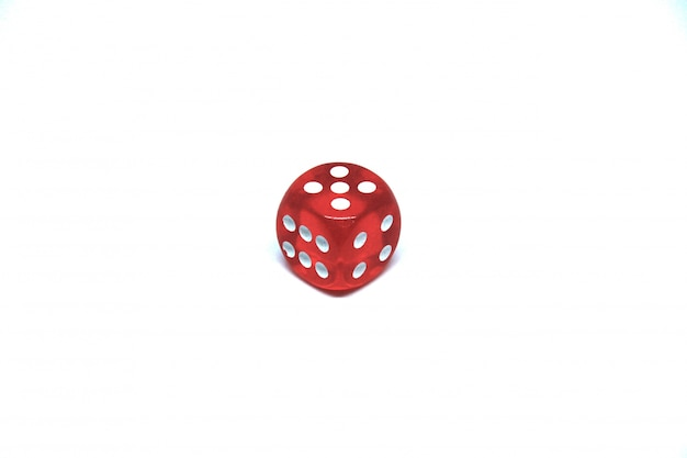 1 red dice close up on white background Free Photo