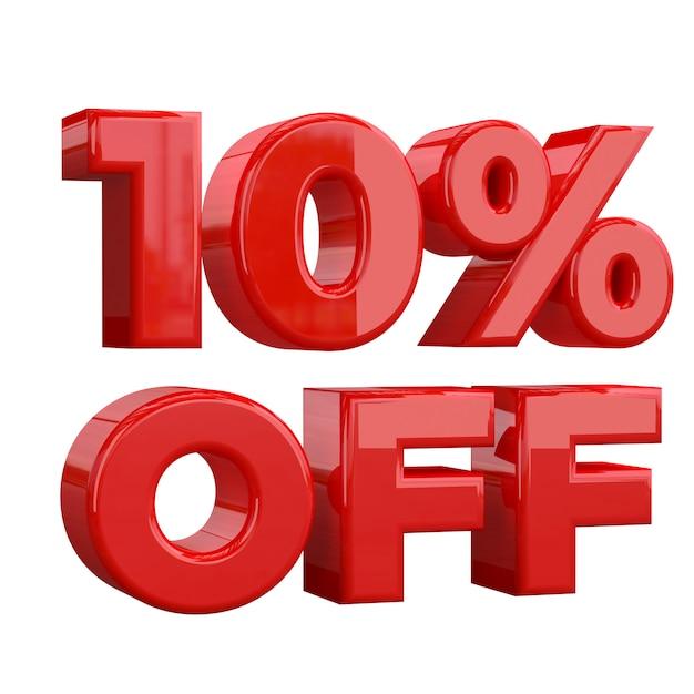 白い背景、特別オファー、素晴らしいオファー、セールで10%オフ。プロモーション広告バナーの10%オフ Premium写真