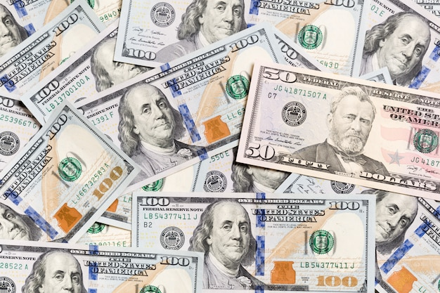 10 dollar bill on dollar banknotes top view of business  on  with copyspace Premium Photo