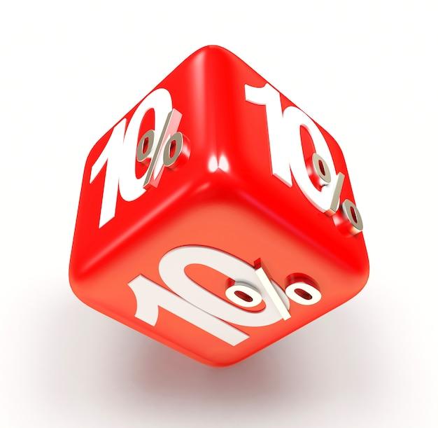 10 процентов на красном кубе продажи Premium Фотографии