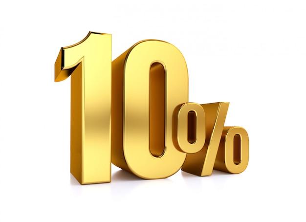 10 процентов на белом фоне. 3d-рендеринг золотой металл скидка. 10% Premium Фотографии