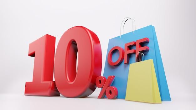 Символ 10% с сумкой для покупок Premium Фотографии