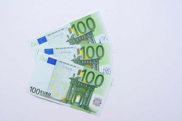 100 euro bills euro banknotes money. european union currency Premium Photo