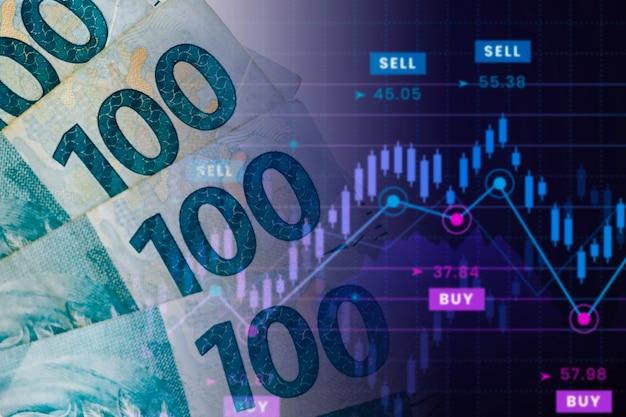 Банкноты 100 реалов с таблицей достоинств. бразильская биржа, котировка бразильского реала на рынке. Premium Фотографии