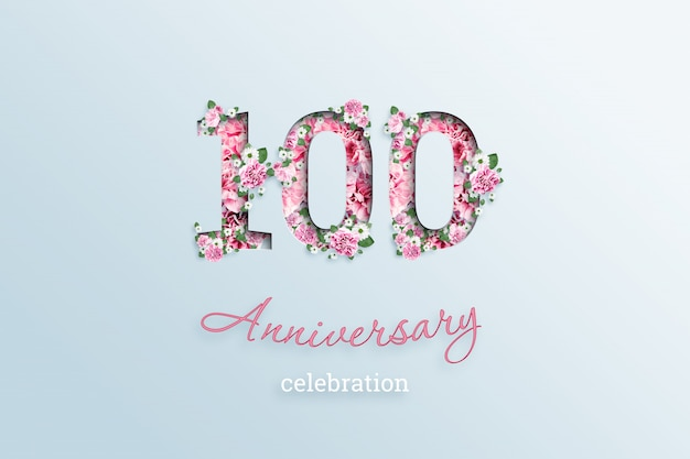 碑文100数と記念日のお祝いtextis花、ライト Premium写真