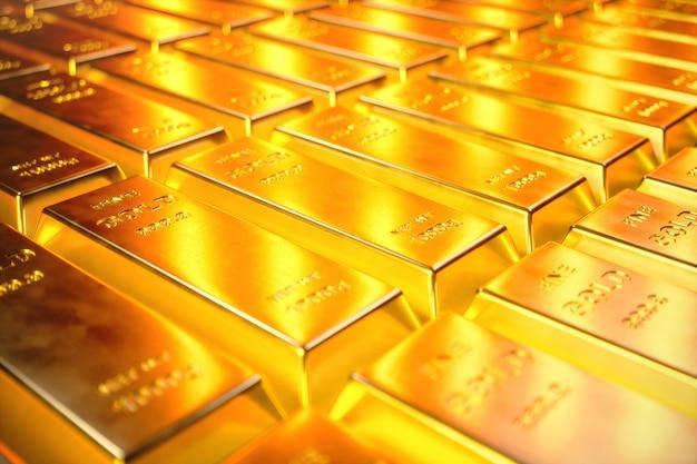 スタッククローズアップゴールドバー、ゴールドバーの重量1000グラム富と準備の概念。ビジネスと金融、3 dイラストレーションでの成功の概念 Premium写真