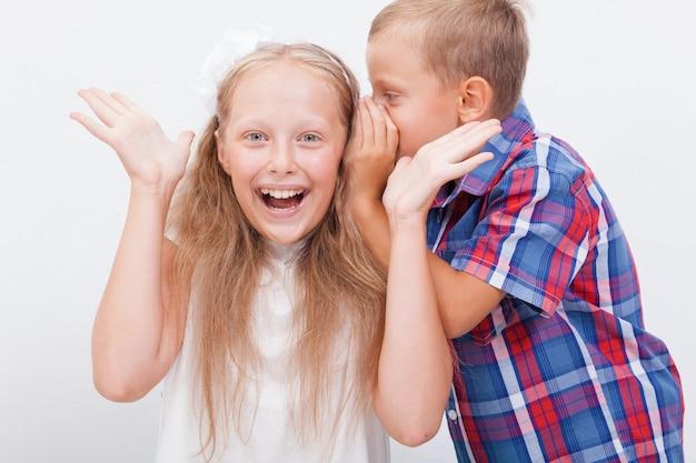 十代の少女の秘密を耳にささやく10代の少年 無料写真
