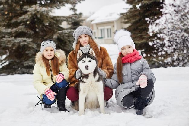 子供たちは雪の中で座り、犬のハスキーをなでます。冬に子供たちは外出し、ハスキー犬と遊ぶ。冬の公園を歩いて、喜びと楽しみ、青い目をしたハスキー犬。 、12月 Premium写真