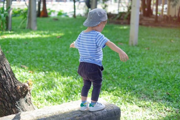 かわいいアジア18ヶ月、1歳の幼児赤ちゃん男の子子供公園で平均台の上を自然に夏、物理的、手と目の調整、感覚、運動能力開発コンセプト Premium写真