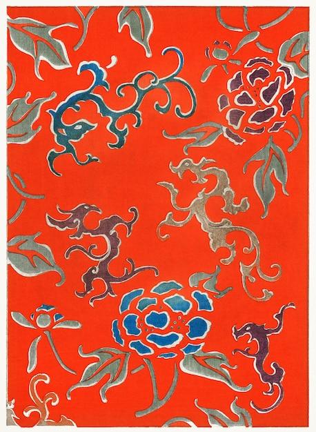 著名な花鳥画家の渡辺誠亭による、美術史(1893-1896)の花柄。桁 無料写真