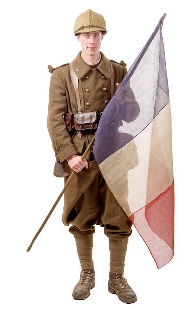 1940年のフランスの兵士、旗 Premium写真