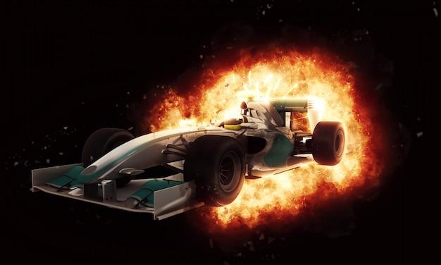 火とフォーミュラ1車 無料写真
