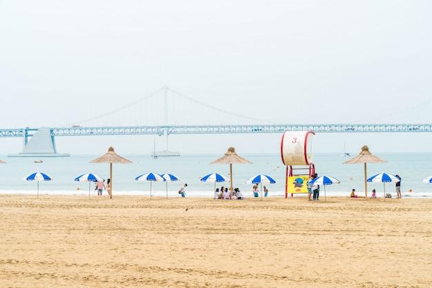 韓国の釜山(プサン)で人気のあるビーチの1つ。 Premium写真