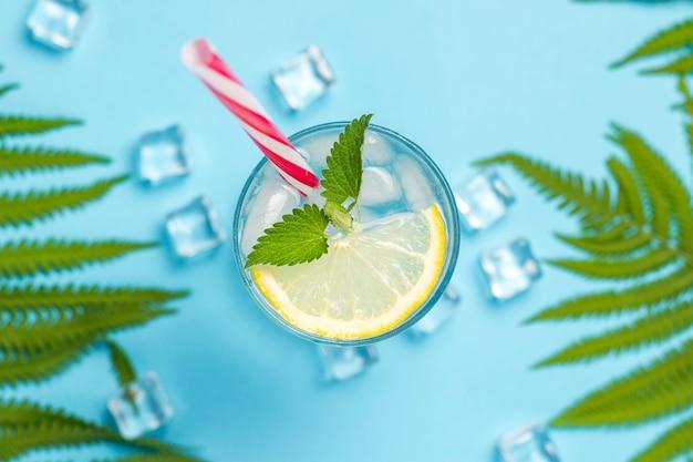 コップ1杯の水、または氷、レモン、ミントとヤシの葉とシダの青い表面に飲みます。アイスキューブ。暑い夏、アルコール、冷たい飲み物、のどの渇きを癒す、バーの概念。フラット横たわっていた、トップビュー Premium写真