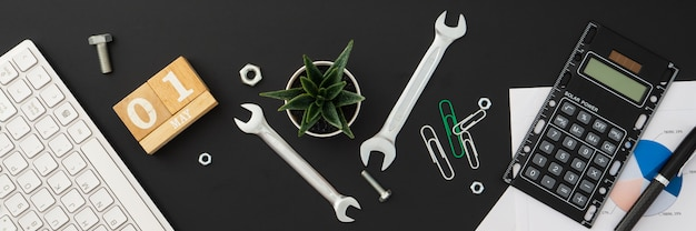 1st may international labour day web banner background concept. Premium Photo