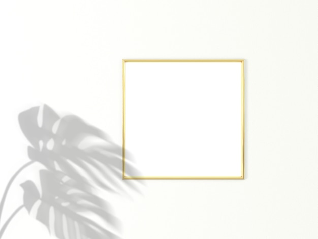 1x1 square gold frame for photo or picture mockup on white background with shadow of monstera leaves. 3d rendering. Premium Photo